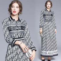 DIOR Autumn Hot Sale Women Casual Print Long Sleeve Lapel Dress