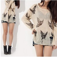 Punk Butterfly Loose Fitting Knitted Sweater