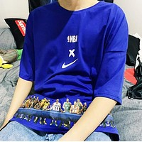 NIKE New fashion letter hook people print couple top t-shirt Blue