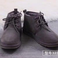 """UGG"" men's shoes, fashion wool, snow shoes, leather shoes."