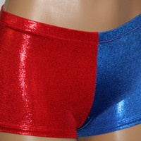 Harley Quinn Suicide Squad Inspired Costume in Red and Blue Matrix Mini Dot!  Choose Cheeky or Regular Length.