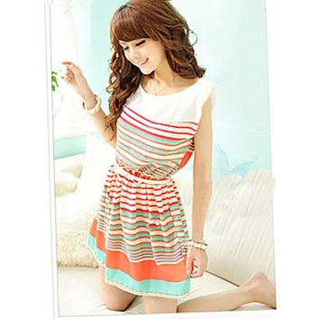 Women's Lovely Bowknot Colorful Dress