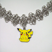 Pokemon, necklace, Pikachu, geek, jewelry, geeky, anime, chainmaille, choker, earrings