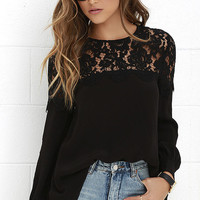 Picture This Black Long Sleeve Lace Top