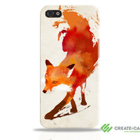 """Artist Designed iPhone 5 TOUGH case / cover / shell  - """"Vulpes"""" wrap around case. Fox, abstract (PRE ORDER)"""