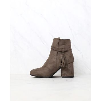 Zira Faux Suede Ankle Booties with Tassel in Mocha