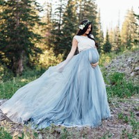 Dusty Blue Long Tulle Maternity Dress