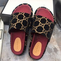 GUCCI new ladies double G embroidered platform casual slippers high quality