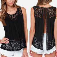 2016 New Fashion Summer Women Hollow Out Crochet Lace Tank Tops Casual Sleeveless Tee Shirt Beach Loose Top Femme Black S-5XL Z1