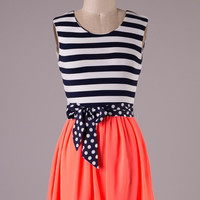 Sweet Stripes Dress -Neon Coral
