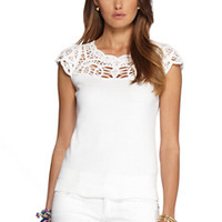 Jules Cap Sleeve Embroidered Sweater - Lilly Pulitzer