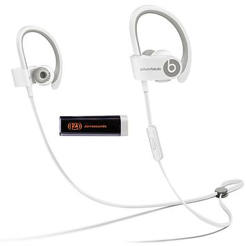 Beats by Dr. Dre Powerbeats 2 Wireless White In-Ear Headphones Travel Bundle with Portable Charger