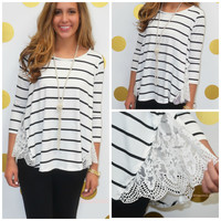 In The Details Striped Top With Lace Paneling
