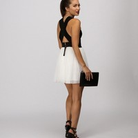 Promo- Black Colorblock Bandage Dress