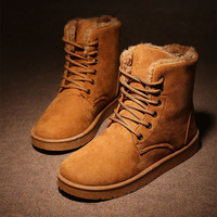 Men's Brown Comfortable Winter Warm Ankle Snow Flat Shoes Lace-up Boots