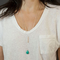 Water-drop Turquoise Layered Chain Necklace