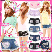 Rakuten: [♪ lovely ポッケリボンフリルショーパン 62177| with gold chain] P]It has been had ◆- Shopping Japanese products from Japan