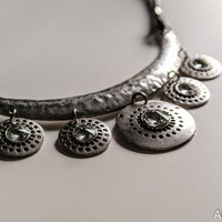 glowing neclace with leather string - leather lariat necklace