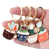 New Cute Potted Plant Cactus Shape Key Ring Keychains Keyrings Chain for Women Bag Charm Pendant Jewelry