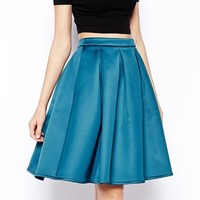 ASOS Premium Full Skirt In Bonded Satin