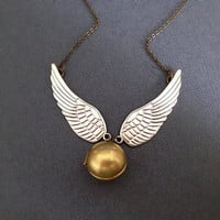 Harry Potter Inspired Golden Snitch Necklace. Gold Vintage Locket. Silver Wings. Brass Chain. Magic. Witch. Wizard Hogwarts. Unisex Under 30