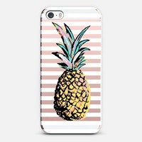 Pastel Party Pineapple White Stripes Transparent  iPhone SE case by Organic Saturation | Casetify