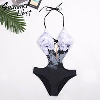 Floral Print sexy bikinis 2018 woman Halter Backless swimsuit female High cut hollow out swimwear push up bahting suit monokini