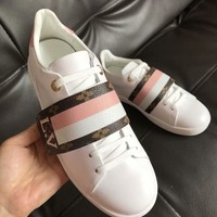 【Louis Vuitton】Sneakers Velcro Stripe LV Women Trending Casual Shoes Sneakers B-ALS-XZ White