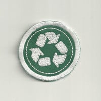"""2"""" Recycling Merit Badge, Patch! Custom Made!"""