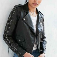 Silence + Noise Aced Laced Vegan Leather Moto Jacket