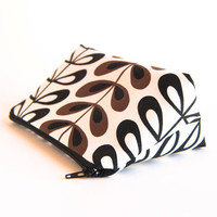 Bridesmaid Gift Idea Clutch Pouch, Cosmetic Clutch Bag, white black flowers, Mother's day, Gift for her