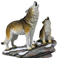 Howling Wolf and Cub Lifelike Statue