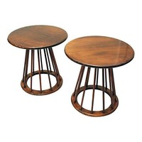 Pre-owned Ed Wormley Style Sheaf of Wheat Tables- A Pair