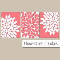 CORAL Flower Wall Art, CORAL Bedroom Wall Decor, Coral Bathroom Decor Canvas or Prints Coral Flower Nursery Art, Flower Petals, Set of 3