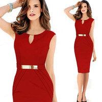 The 2014 newest women sleeveless knee length office dress work elegant ladies formal party pencil dress [7655970822]