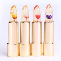 Hot Sell Kailijumei Purple Bright Flower Crystal Jelly Lipgloss Magic Change Color Lip Balm Lipstick Beautiful  [8833949836]