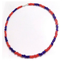 Red and blue seed bead choker