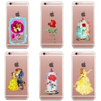 Beauty and the beast rose Snow White Princess Soft Clear TPU Case for iPhone 7 7Plus 6s 6 6S Plus 5 5S SE 8 8Plus X