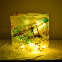 """Glass Box Lantern with String Lights in Limepeel Yellow - """"Merch Light"""""""