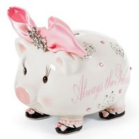 Infant Girl's Mud Pie 'Always the Princess' Jeweled Piggy Bank - Pink