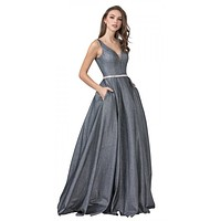 Titanium Long Prom Dress V-Neck with Pockets