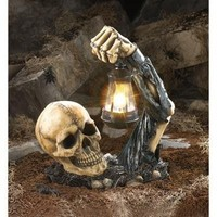 Sinister Skull With Lantern Halloween Party Decoration