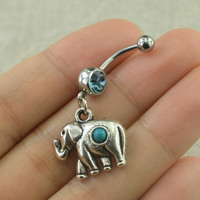 belly button jewelry elephant belly rings turquoise belly button rings,turquoise jewelry