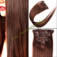 Remy 100% Human Hair Extensions 15inch 7s 16 Clip in  Full Head WGA-4 Medium Brown freeshipping