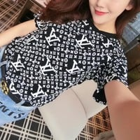 """Louis Vutitton"" Women Fashion Casual Letter Logo Print Short Sleeve T-shirt Top Tee"