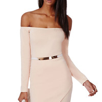 Solid Color Slash Neck Bodycon Dress