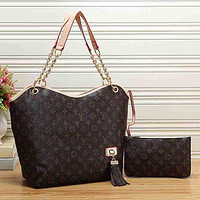 Louis Vuitton LV Women Fashion Leather Satchel Shoulder Bag Handbag Two Piece Set