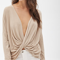 FOREVER 21 Draped Surplice Top Taupe