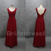 Rust red Sweetheart Spaghetti Straps V Back Ruffled Backless Long Bridesmaid Dress,Chiffon Formal Evening Party Prom Homecoming Dress