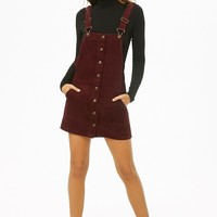 Corduroy Button-Front Overall Dress